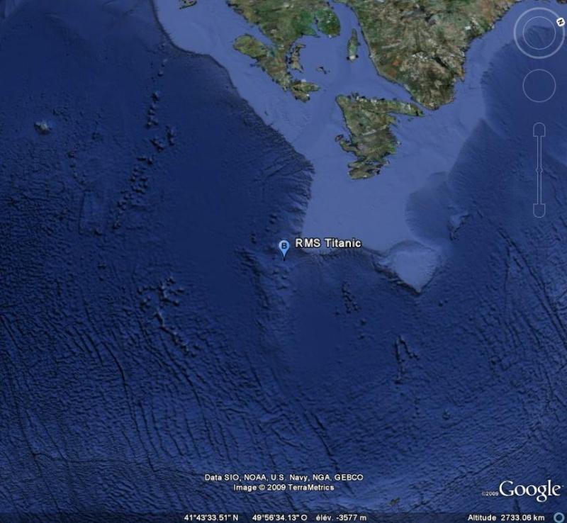 Epave du Titani... Earth Google Maps Satellite
