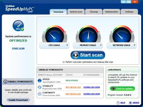 برنامج Uniblue Speed لتسريع الجهاز تفريغ الذاكرة
