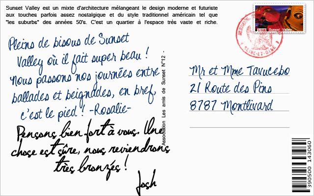 texte de carte postale