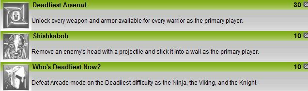 Deadliest Warrior game achievement list.
