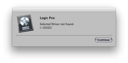 Selected Driver not Found  (-10202) - Logic Pro Help